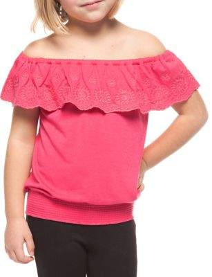 Dex Girl's Embroidered Off-the-Shoulder Top