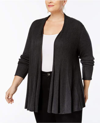 INC International Concepts I.n.c. Plus Size Ribbed-Knit Swing Cardigan, Created for Macy's