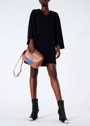 Tibi Structured Crepe V-Neck Bell Sleeve Dress