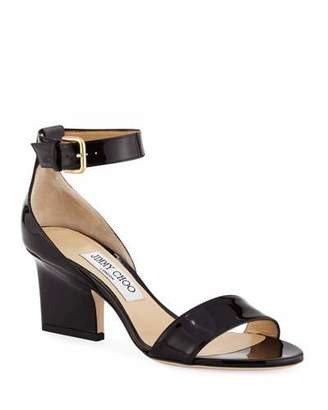 Jimmy Choo Edina Patent Leather Ankle-Wrap Sandals
