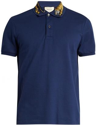 GUCCI Tiger-appliqué cotton-blend piqué polo shirt $670 thestylecure.com