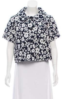 Tibi Floral Patterned Short Sleeve Jacket