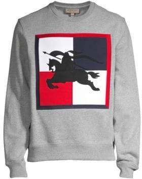 Burberry Men's Logo Embroidered Sweatshirt - Pale Grey - Size XL