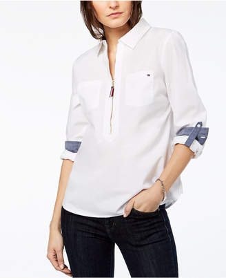 Tommy Hilfiger Cotton Half-Zip Top, Created for Macy's
