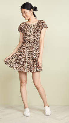 Rebecca Taylor Short Sleeve Leopard Jersey Dress