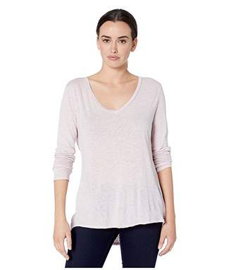 True Grit Dylan by Long Sleeve V-Neck Tee Knit Front with Eyelet and Embroidery Back