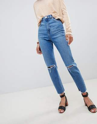 Asos Design DESIGN Farleigh high waisted slim mom jeans in mid stonewash blue with rips