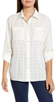 Ming Wang Tonal Windowpane Plaid Button-Up Shirt