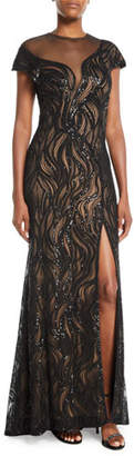 Tadashi Shoji Cap-Sleeve Sequin Illusion Gown w/ High Slit