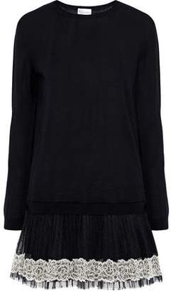 RED Valentino Lace And Point D'esprit-Paneled Wool Mini Dress