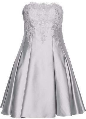 Mikael Aghal Strapless Metallic Lace Applique Satin-Twill Mini Dress