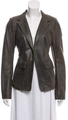 Donna Karan Notch-Lapel Leather Blazer