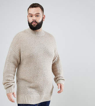 Asos PLUS Mohair Wool Blend Turtleneck Sweater In Brown