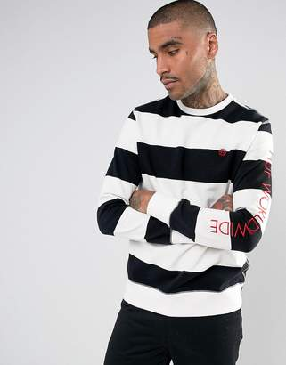 HUF Catalina Striped Sweatshirt With Sleeve Print