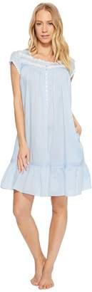 Eileen West Cotton Rich Sheer Stripe Button Front Short Gown Women's Pajama