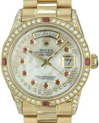 Rolex Datejust 1803 18K Yellow Gold Custom Mother of Pearl Dial with Diamond & Ruby Automatic Vintage 36mm Mens Watch