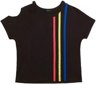 Terez Bright Striped Slash Neck Tee, Size 7-16