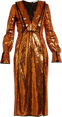 V-neck sequin-embellished dress