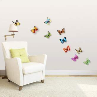 Mural Walplus Wall Stickers 3D Colourful Butterfly Removable Self-Adhesive Art Decals Vinyl Home Decoration DIY Living Bedroom Office Décor Wallpaper Kids Room Gift, Multi-colour