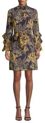 Kobi Halperin Sheila Floral Silk Ruffle Sheath Dress