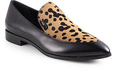 Prada Leopard-Print Calf Hair & Leather Loafers