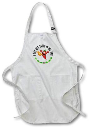 3dRose Funny Hot Pepper Chili I Got Hot Sauce In My Bag - Full Length Apron, 22 by 30-inch, Black, With Pockets
