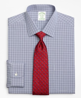 Brooks Brothers Stretch Milano Slim-Fit Dress Shirt, Non-Iron Houndstooth Overcheck