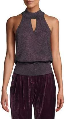 Parker Fern Knit Metallic High-Neck Sleeveless Top