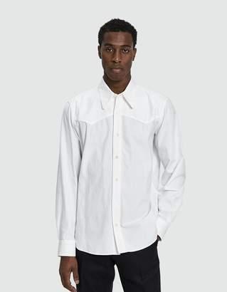 Dries Van Noten Twill Button Up Shirt in White
