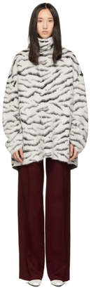 Givenchy White and Black Mohair Tiger Stripes Turtleneck