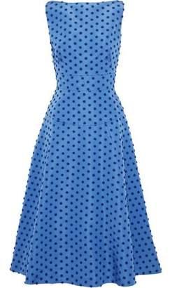 Lela Rose Flocked Silk-faille Midi Dress