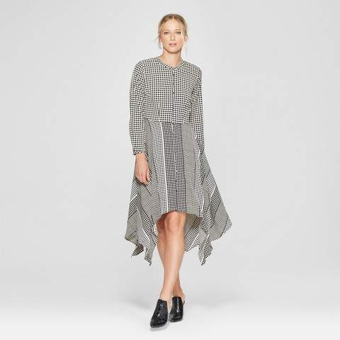 Who What Wear Women's Long Sleeve Asymmetric Hem Midi Shirt Dress - Who What Wear Black/White