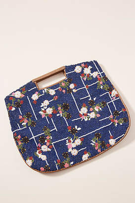 Anthropologie Floral Grid Beaded Clutch