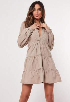 Missguided Stone Grandad Collar Poplin Smock Dress, Stone