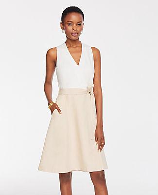 Ann Taylor Two Tone Flare Pocket Dress