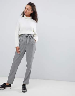 Parisian slim leg check pants with self tie belt