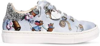 MonnaLisa Cinderella Print Faux Leather Sneakers