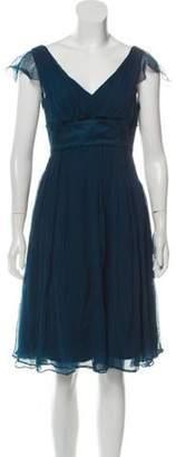 Fendi Sleeveless Silk Dress Teal Sleeveless Silk Dress
