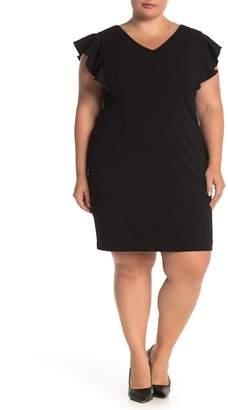 Eliza J Ruffled Cap Sleeve V-Neck Dress (Plus Size)