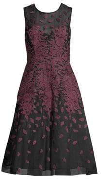 BCBGMAXAZRIA Floral Embroidered A-Line Dress