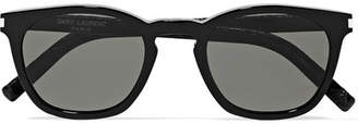 Saint Laurent Cat-eye Acetate And Croc-effect Leather Sunglasses - Black