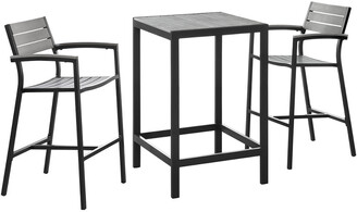 Modway Maine 3Pc Outdoor Patio Dining Set