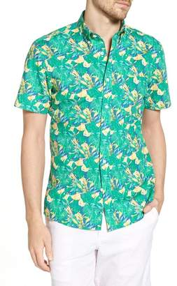 1901 Trim Fit Leaf Print Sport Shirt