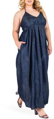 Standards & Practices Maui Maxi Chambray Halter Dress
