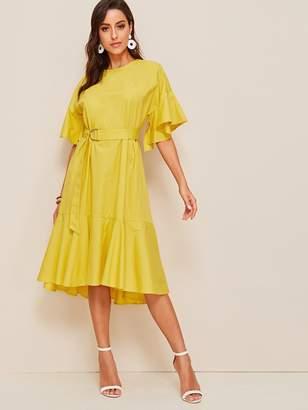 Shein Bell Sleeve Flounce Hem Belted Dress