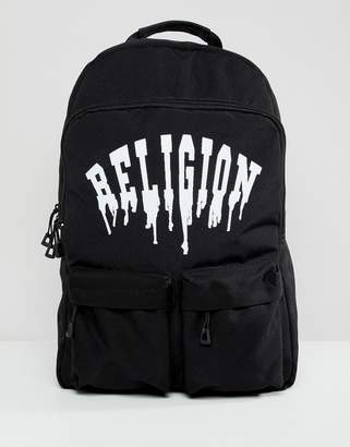 Religion Backpack With Pockets And Dripping Print