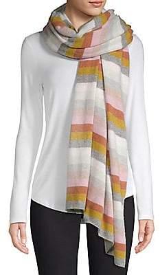 White + Warren Women's Stripe Cashmere Travel Wrap Scarf