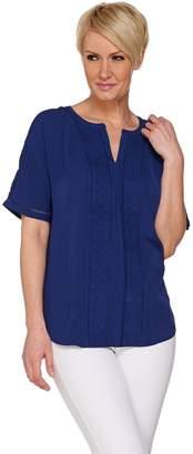 C. Wonder Short Sleeve Split V-neck Top with Lace Detail