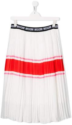 MSGM Kids striped pleated skirt
