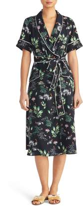 Rachel Roy Collection Floral Print Tipped Wrap Dress